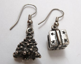 Sterling Sliver Christmas Tree and Present Earrings