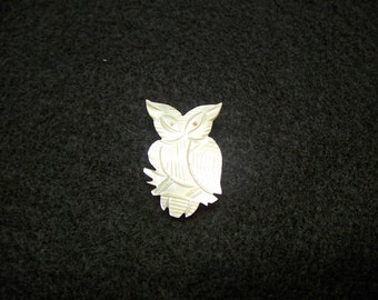 FREE SHIPPING in the U.S.--Tiny Mother of Pearl Owl Pin