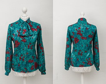 Vintage Bright Emerald and Fuchsia Askot Secretary Blouse with Detachable Bow Detail / Size Medium / Large / Green Pink Pussy Bow Shirt
