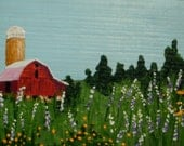 Red Barn and Silo- Original Small Acrylic Painting on Reclaimed Wood