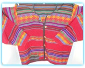 Beautiful South American Vintage Colorful Blanket Jacket Southwestern Boho Hippie
