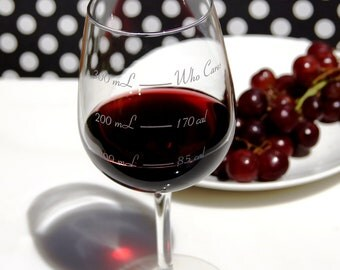 Metric Caloric Cuvee: The Calorie Counting Wine Glass - Diet Wine Glass - Measurement - Portion Control - Weight Loss - Who Cares Wine Glass
