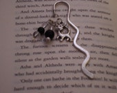 Silver cat bookmark with clear and black beads