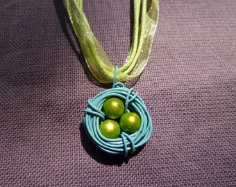 Whimsical Bird Nest Necklace- Wire Wrapped, Lime Green and Blue