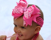 Pink Flowers Layered Boutique Bow