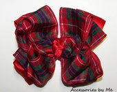 Tartan Hair Bow Red Green Royal Blue Scottish Plaid Satin Girls Accessory Portrait Pageant Occasion