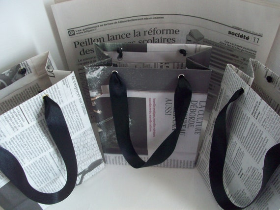 Recycled Newspaper Gift Bags - Set of 3