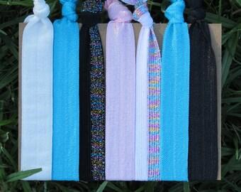 7 Pack Turquoise Black White Glitter Print Hair Ties Stretch Fold Over Elastic FOE Pony Tail Holder Bracelet 83