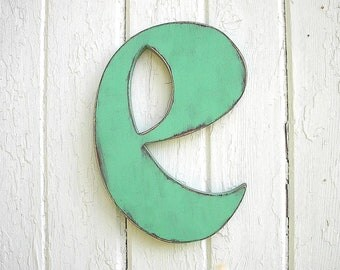 "Nursery Wall Hanging Letters Wooden Letter ""e""  Distressed Letter Initial Kids Wall Decor"