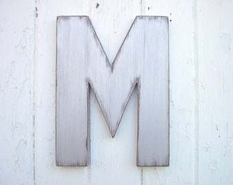 "Wooden Letters Shabby chic 12"" M Modern Industrial Urban Wall Hanging Silver Dorm Home decor"
