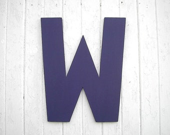 Wooden Letters W 24 inch Personalized Initial Wedding decor Kids Wall Art Nursery Decor Purple