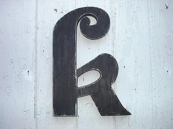 Decorative black wooden letter k 12 inch big by lettersofwood for Large black wooden letters