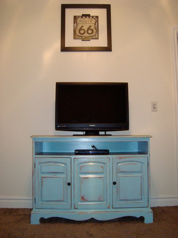 shabby chic blue tv stand by boydbuilds on etsy. Black Bedroom Furniture Sets. Home Design Ideas