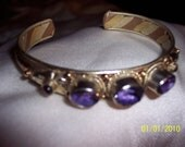 3 Amethyst Stones with Bronze, Copper, Silver, and Brass Handmade Bracelet