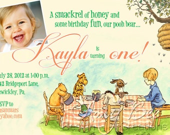 Classic Pooh Birthday Invitation with Photo (optional)
