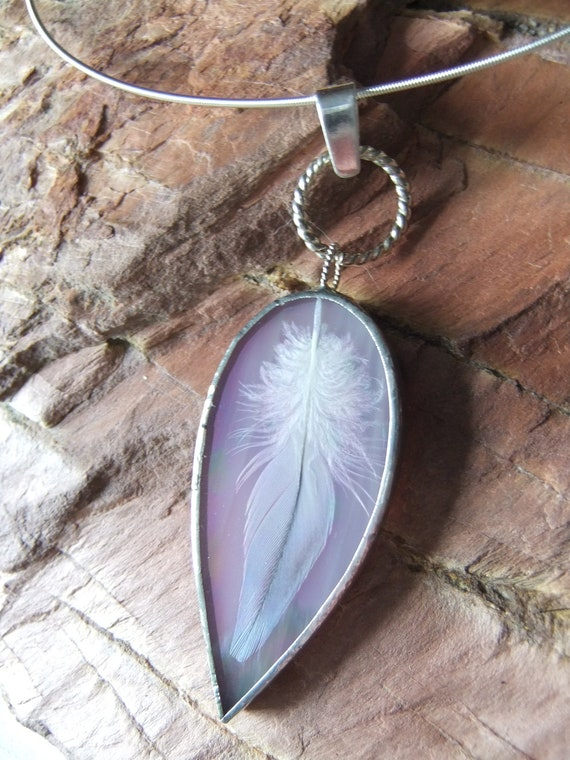 Pink Wispy Iridescent Stained Glass Pendant