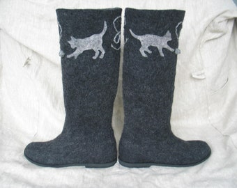 Felted boots WITH CATS ON