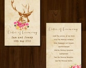 Vintage Rustic Antlers Floral Professionally Printed Wedding Order of Service/Ceremony Program