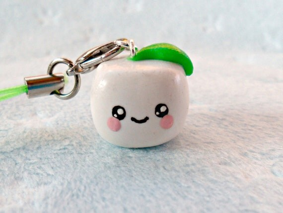 Kawaii Tofu Charm, Cute :D Comes With Cell Phone Strap