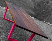 Natural Edge Walnut Dining Table with Neon Legs