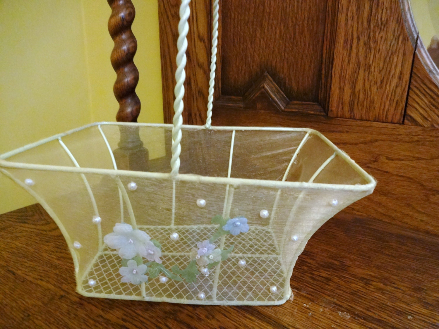 vintage shabby chic basket wire basket easter basket