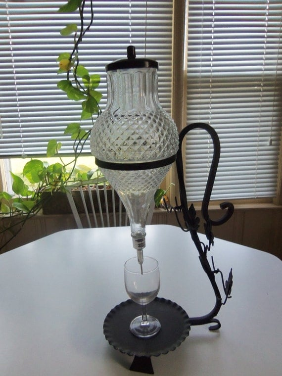 Vintage 1960s Wine Brandy Glass Dispenser On A Wrought Iron