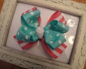 Pink & White striped and Teal Polka Dot Boutique Hair Bow