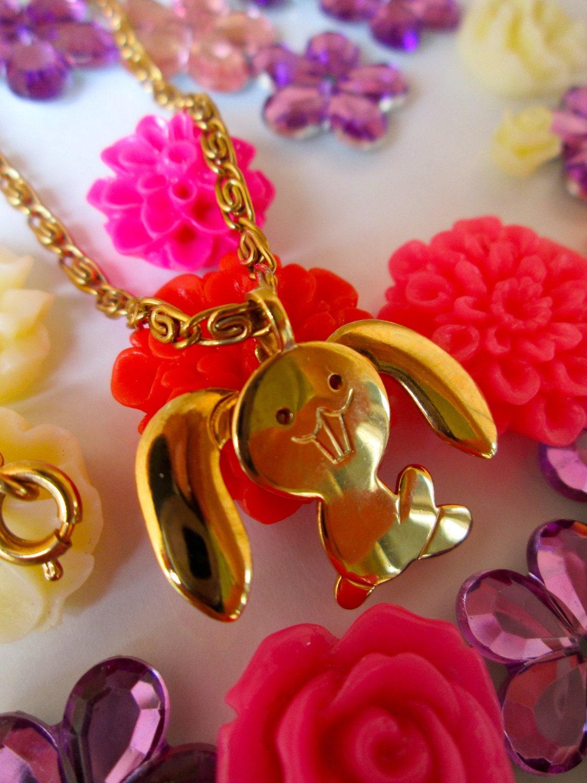 Avon Bunny Necklace Child Necklace Kids Vintage By