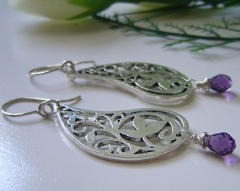 Amethyst Paisley Leaf Filigree Earrings Wire Wrapped Gemstone Silver