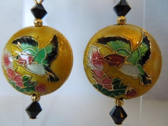 Cloisonne Hummingbird Dangle Earrings with Black Swarovski Crystals Pink Flowers