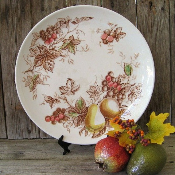 Vintage Platter, Nasco China Fruit Arbor Chop Plate, Fruit Leaf Brown Red Green Yellow Serving Plate, Autumn Tableware, Thanksgiving Decor