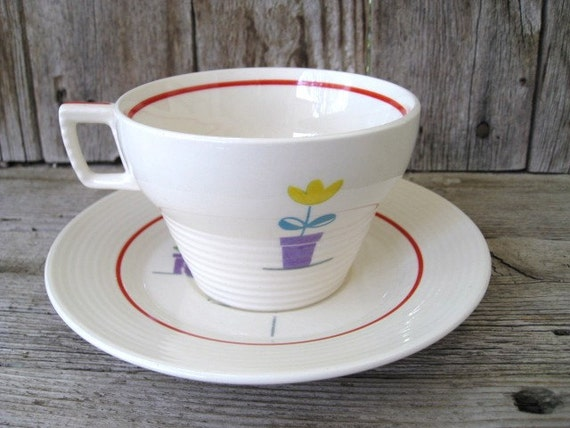 RESERVED For ANNIE - Vintage Cup and Saucer, American Limoges Triumph Posey Shop, Art Deco, Retro