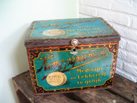 Dutch antique advertising box turquoise kitchen decor