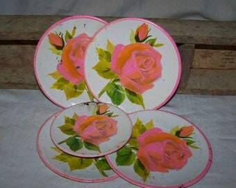 Toy Dishes Metal Toy Dishes Toy Plates Pink Roses Plates