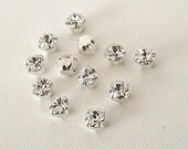 Set of 12 Clear 4.6mm Swarovski Chaton Montees, 53201 Sew On Rhinestones, SS19, Silver Plated Settings, Swarovski Sew On Chatons