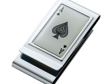 Personalized Ace of Spades Money Clip & Credit Card Holder Engraved Free