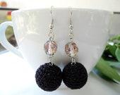 Black crochet earrings, crochet ball earrings, lightweight earrings, dangle earrings, woman fashion