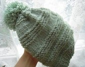 CUSTOM ORDER --knitting hat, Mint green knitting hat with pom-pom, Winter accessories, Winter hat,Black Friday Etsy, Cyber Monday