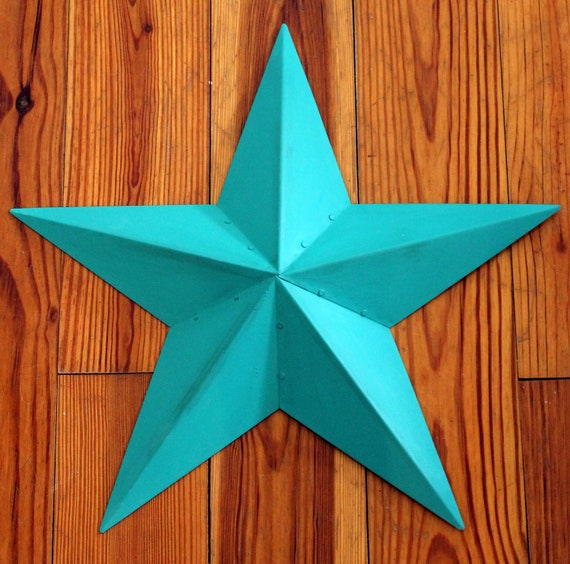 Turquoise Metal Star Wall Art