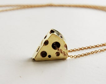 Cheese Pendant/ Necklace - Golden Brass Vintage