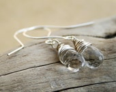 Clear Crystal Quartz Sterling Silver Earrings,Natural crystal,Sterling Silver Wire Wrapped Dangle,White Fashion,Ice Earrings,Wedding Jewelry