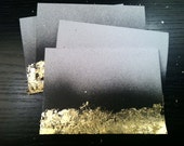 Set of 4 Handmade Black Painted Gold Leaf Cards with Envelopes