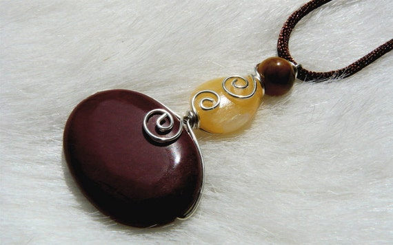 Jasper Pendant Wire Wrapped Sterling Silver Handcrafted