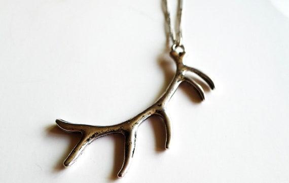 Oh Pioneer Antler Necklace, Silver, Chain, Gift, Rustic, Pendant, Deer, Elk,  Moose