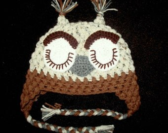 Baby Boy Sleeping Owl Hat