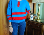 Blue and red 80s sweater