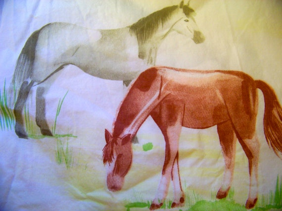 Vintage sheet twin top sheet horses sheet fabric kids 39 for Horse fabric for kids