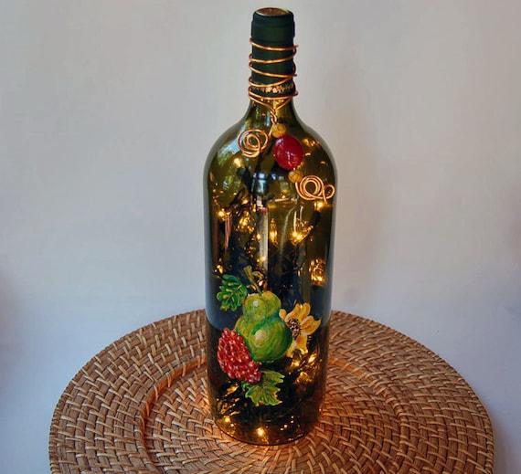 Wine bottle light, Tuscan home decor, pear, grapes, sunflower, kitchen decor, lamp, lighting,