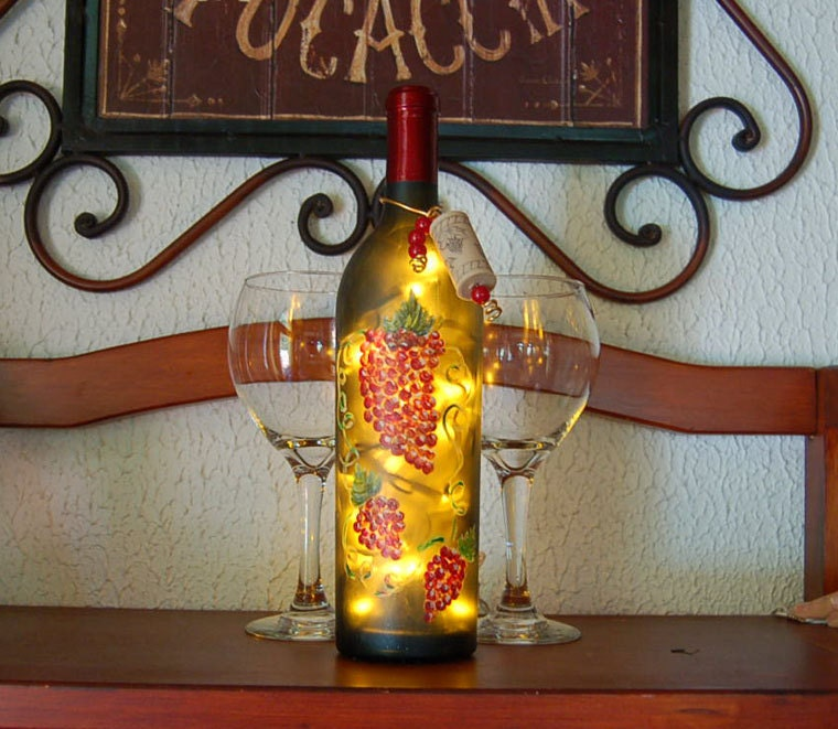 wine bottle light grapes kitchen decor tuscan by vauvicstudio. Black Bedroom Furniture Sets. Home Design Ideas