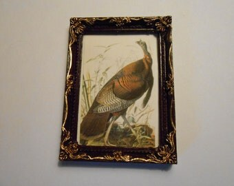Miniature Audubon Wild Turkey print for dollhouse